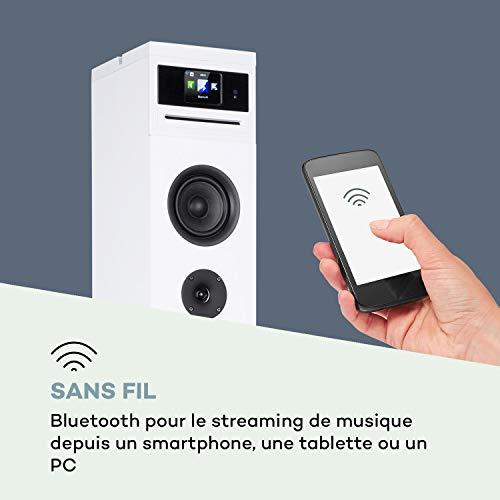 Bluetooth AUX in Gain de Place Enceinte Colonne Enceinte Tour Radio Internet WiFi Noir Caisson Haut-Parleur FM//Dab+ AUNA Karaboom 100 Lecteur CD Support de Tablette 120W Max